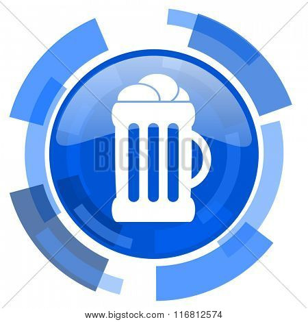 beer blue glossy circle modern web icon