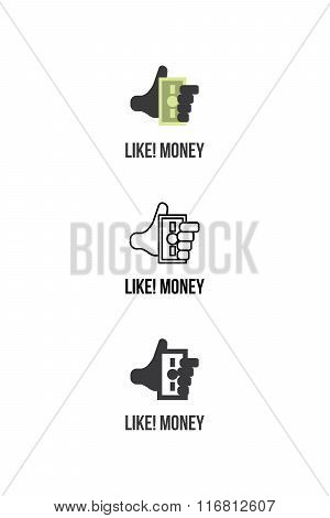 Finance services logotype or icon with like sign