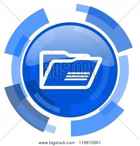 folder blue glossy circle modern web icon