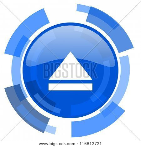 eject blue glossy circle modern web icon