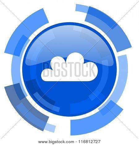 cloud blue glossy circle modern web icon