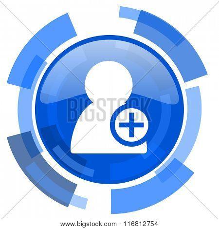 add contact blue glossy circle modern web icon
