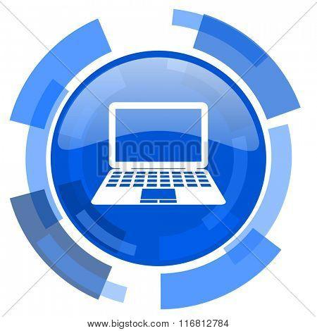 computer blue glossy circle modern web icon