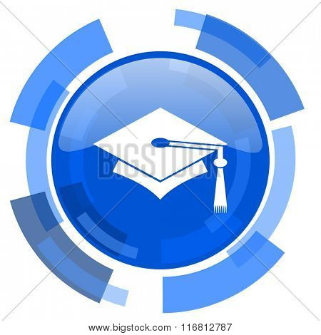 education blue glossy circle modern web icon
