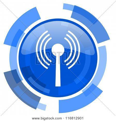 wifi blue glossy circle modern web icon
