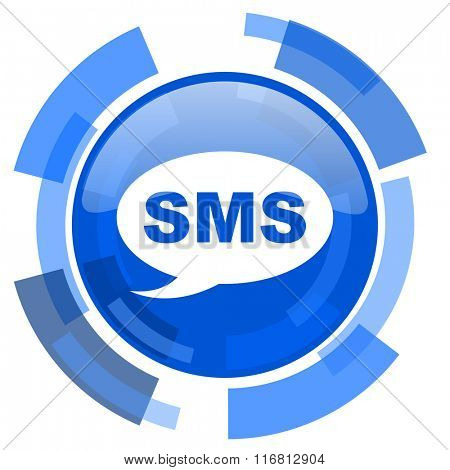 sms blue glossy circle modern web icon