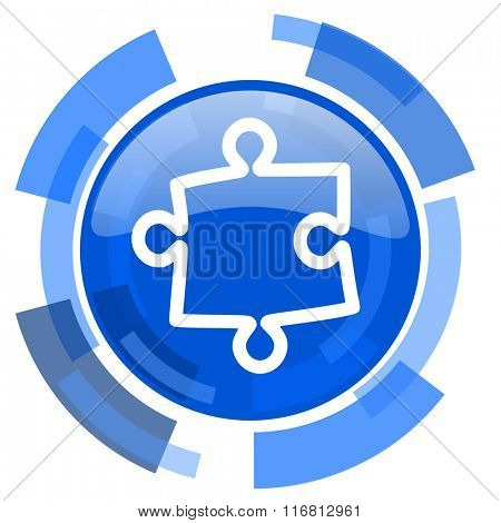 puzzle blue glossy circle modern web icon