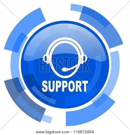 support blue glossy circle modern web icon