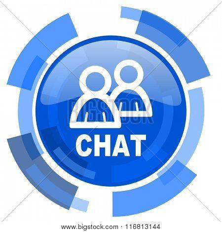 chat blue glossy circle modern web icon
