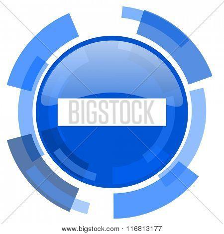 minus blue glossy circle modern web icon