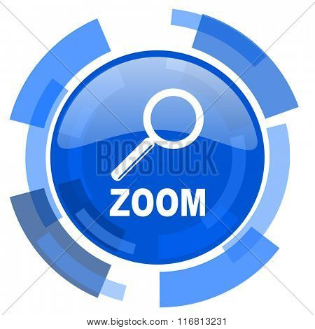 zoom blue glossy circle modern web icon