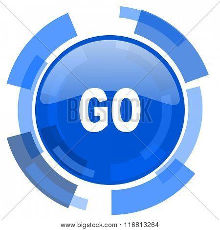 go blue glossy circle modern web icon