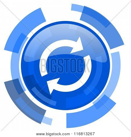 reload blue glossy circle modern web icon