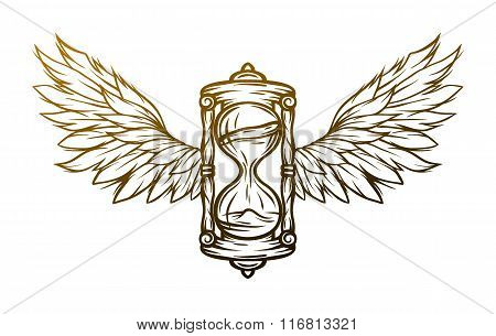 Hourglass and wings. Sign, symbol.