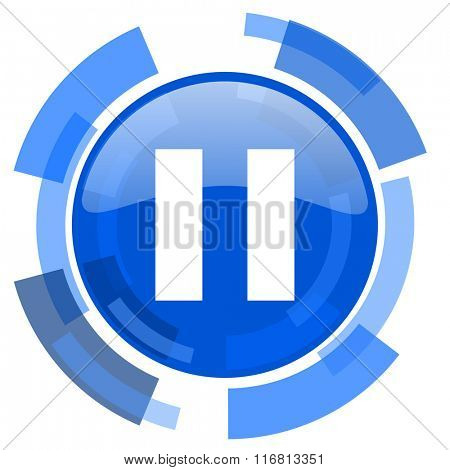 pause blue glossy circle modern web icon