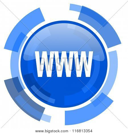 www blue glossy circle modern web icon
