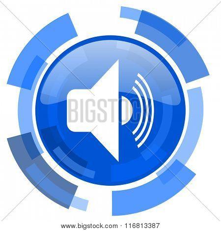 volume blue glossy circle modern web icon