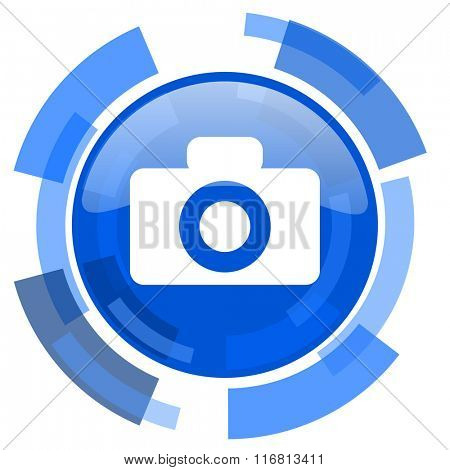 camera blue glossy circle modern web icon