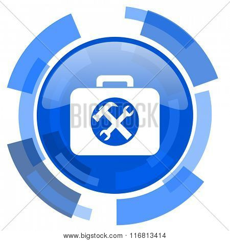 toolkit blue glossy circle modern web icon
