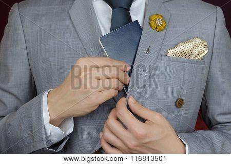 Businessman Showing Passport, Travel Aboard, Business Trip