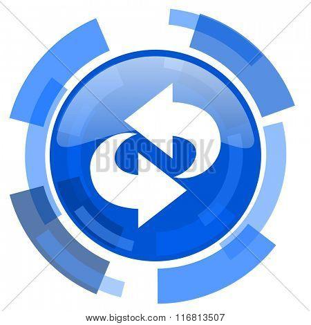 rotation blue glossy circle modern web icon