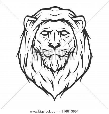 Lion head.  Line, art, style.