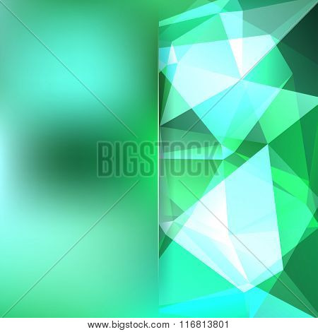 Polygonal Vector Background. Green, White Colors. Blur Background. Can Be Used In Cover Design, Book