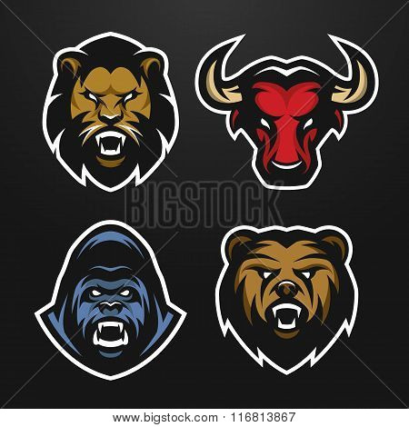 Set logos. Lion, Bull, Gorilla, Bear.