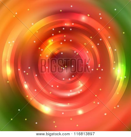 Vector Round Frame. Shining Circle Banner. Green, Red, Orange Colors. Vector Design. Glowing Spiral