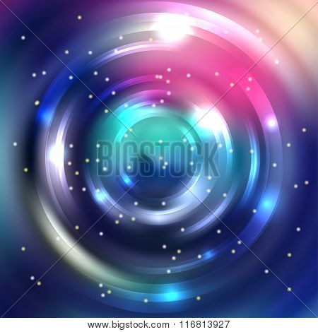 Vector Round Frame. Shining Circle Banner. Blue, Pink Colors. Glowing Spiral. Vector Illustration