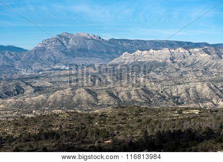 Mountain Range In Alicante. Costa Blanca, Valencia. Spain