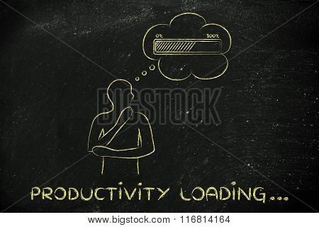 Person With Thought Bubble &  Progress Bar, With Text Productivity Loading