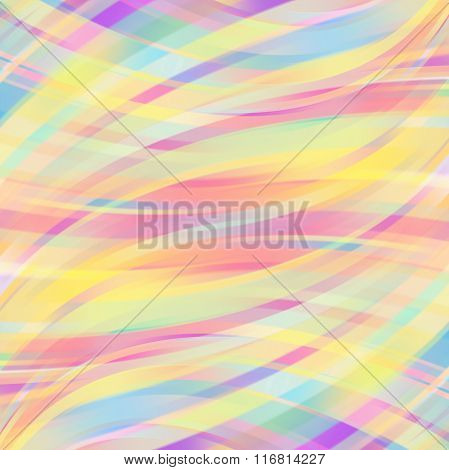 Colorful Smooth Light Lines Background. Pastel Colors. Vector Illustration.