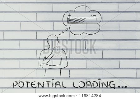 Person With Thought Bubble &  Progress Bar, With Text Potential Loading