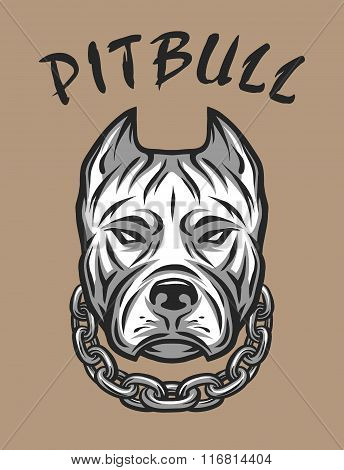 The head of a pit bull with a chain.