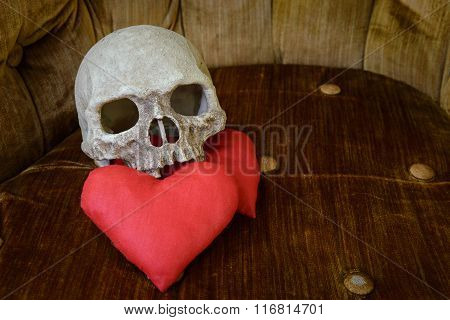 Human Skull With Red Heart