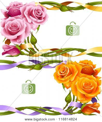 Vector horizontal frame set of yellow and pink roses intertwined with a ribbon