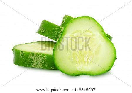 Fresh green slices of cucumber.