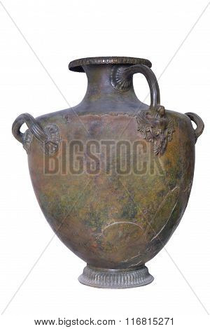 Grecian vessel for water - hydria made for Scythian. The Scythians or Scyths (from Greek Σκύθης) a nation of horse-riding nomadic pastoralists originally of Iranian stock who spoke an Iranian language dominated the Pontic steppe throughout Classic