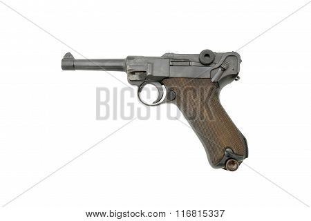 German Parabellum-Pistole. Official P.08. Name from the Latin: si vis pacem para bellum meaning if you want peace prepare for war. Very popular during the WWI and WWII not only by German army.