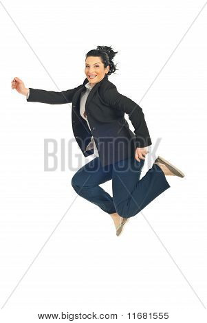 Jumping Executive Woman