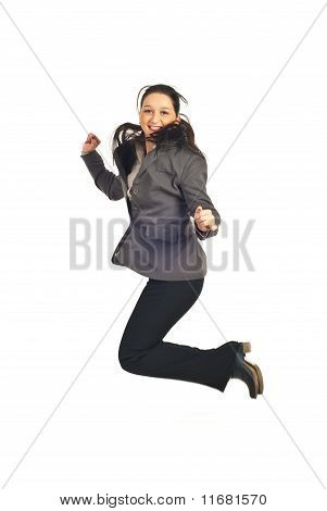 Young Executive Woman Jumping