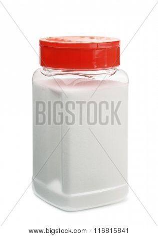 Plasic container of table salt isolated on white