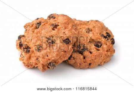 Oatmeal raisin cookies isolated on white