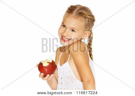 Charming girl with an apple