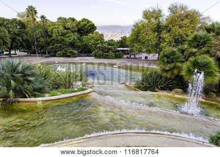 View Of Gardens Del Mirador De Alcalde On High Above The City Of Barcelona, In The Vicinity Of Montj