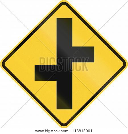 United States Mutcd Warning Road Sign - Offset Roads