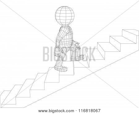 Puppet 3d man walking stairs