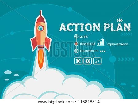 Action Plan And Concept Background With Rocket.