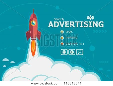 Advertising And Concept Background With Rocket